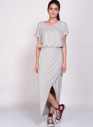 Limon Company Uzun Yırtmaçlı Elbise Gri